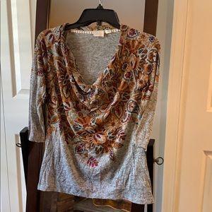 Anthropologie 3/4 sleeve floral top